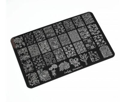 Пластина для стемпинга Lesly 9,5х14,5см - Flowerbed 2